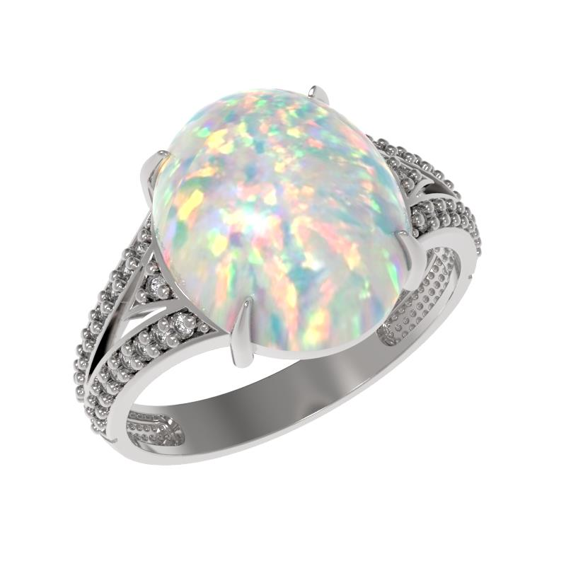 Серебряное кольцо Опал и Фианит арт. 1034891-01110-о 1034891-01110-о