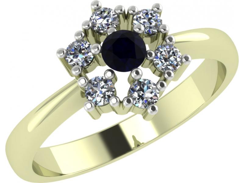 Кольцо из лимонного золота Бриллиант и Сапфир арт. 1022321-31240-с 1022321-31240-с