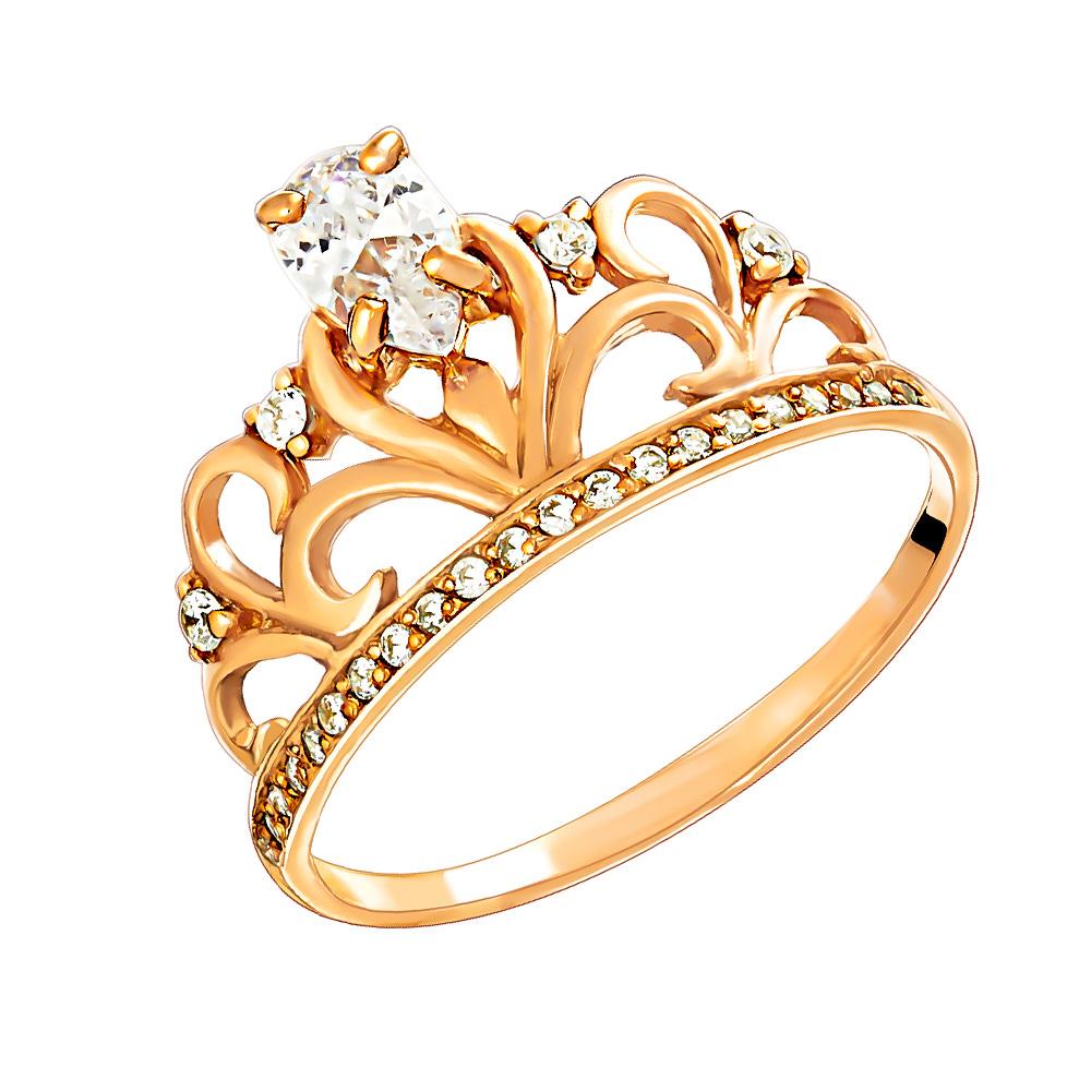 Кольцо серебряное с позолотой Фианит арт. к3086п 17.5 к3086п 17.5