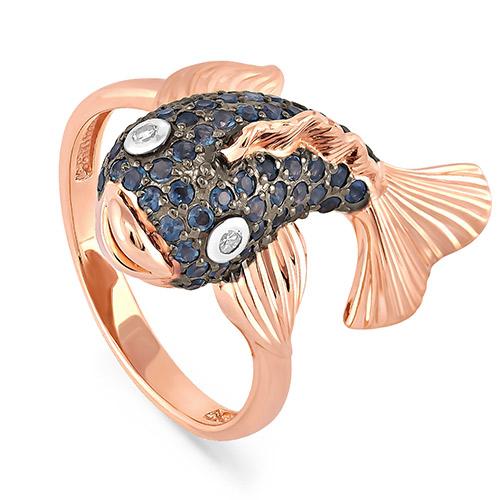 Золотое кольцо Бриллиант и Сапфир арт. 1-0442-1100 1-0442-1100
