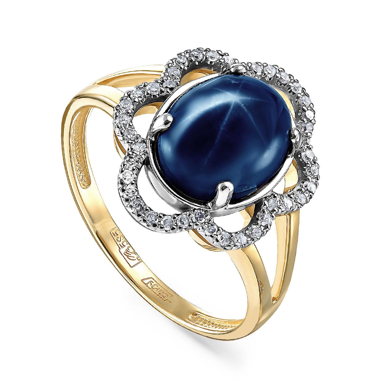 Кольцо из лимонного золота Бриллиант и Сапфир арт. 1-2313-1400 1-2313-1400
