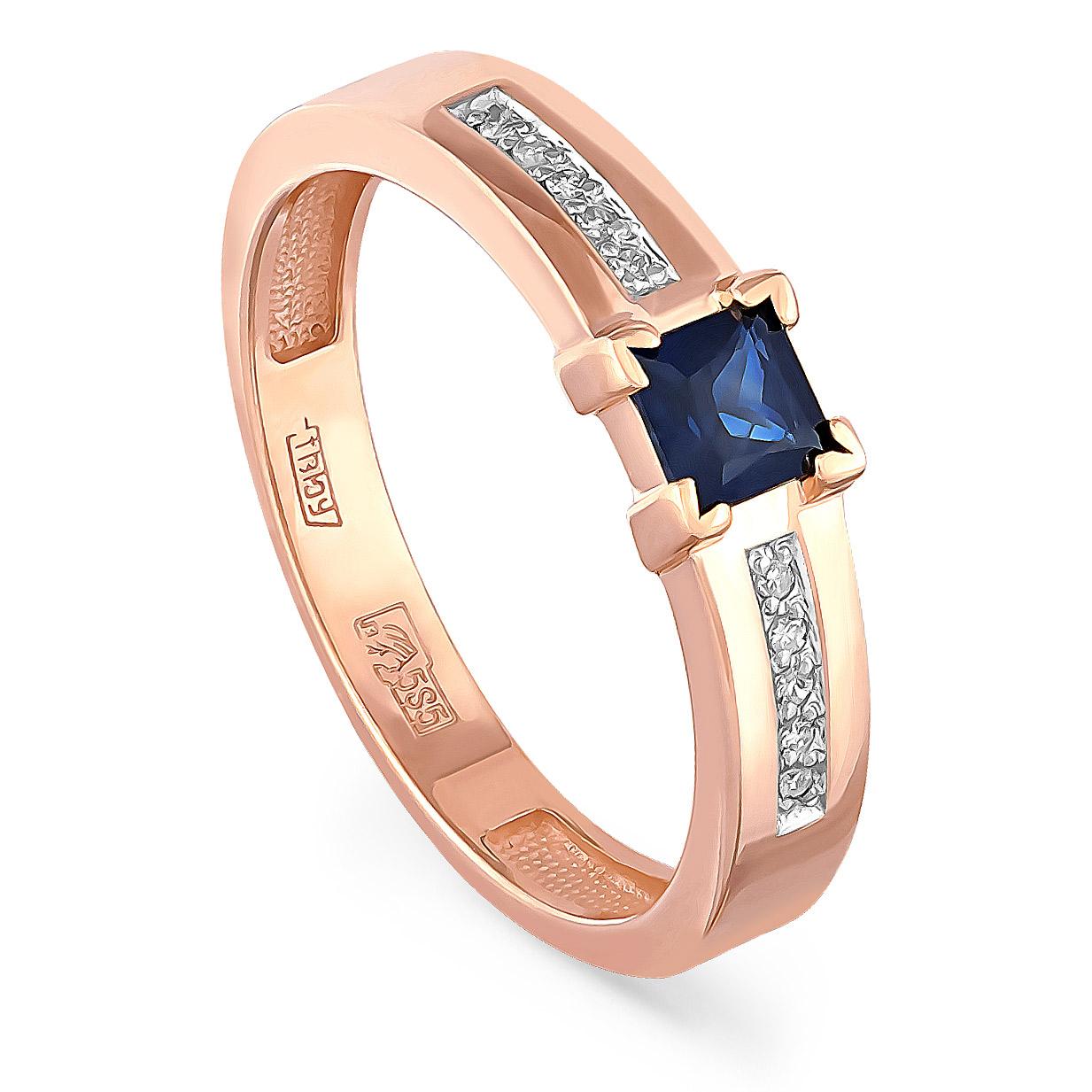 Золотое кольцо Бриллиант и Сапфир арт. 11-01083-1100 11-01083-1100