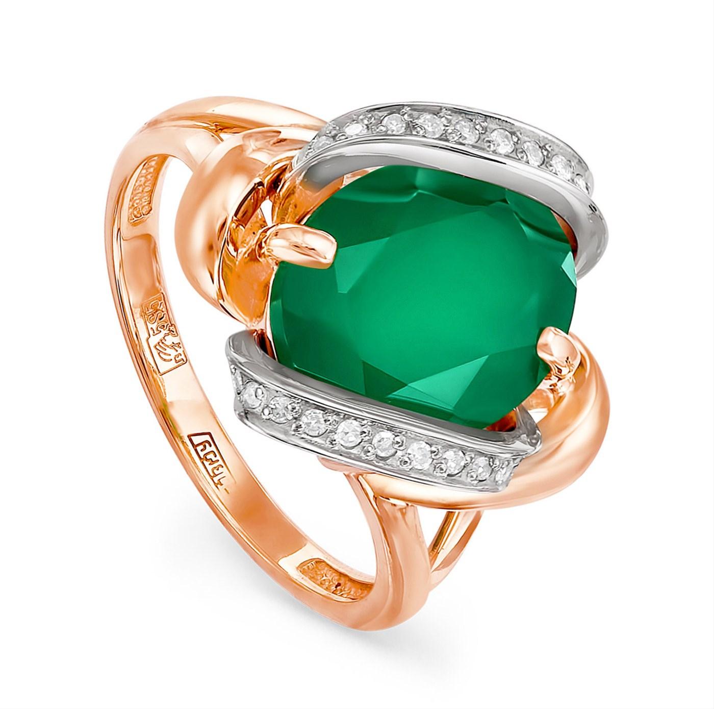 Золотое кольцо Бриллиант и Оникс арт. 11-0508-1900 11-0508-1900