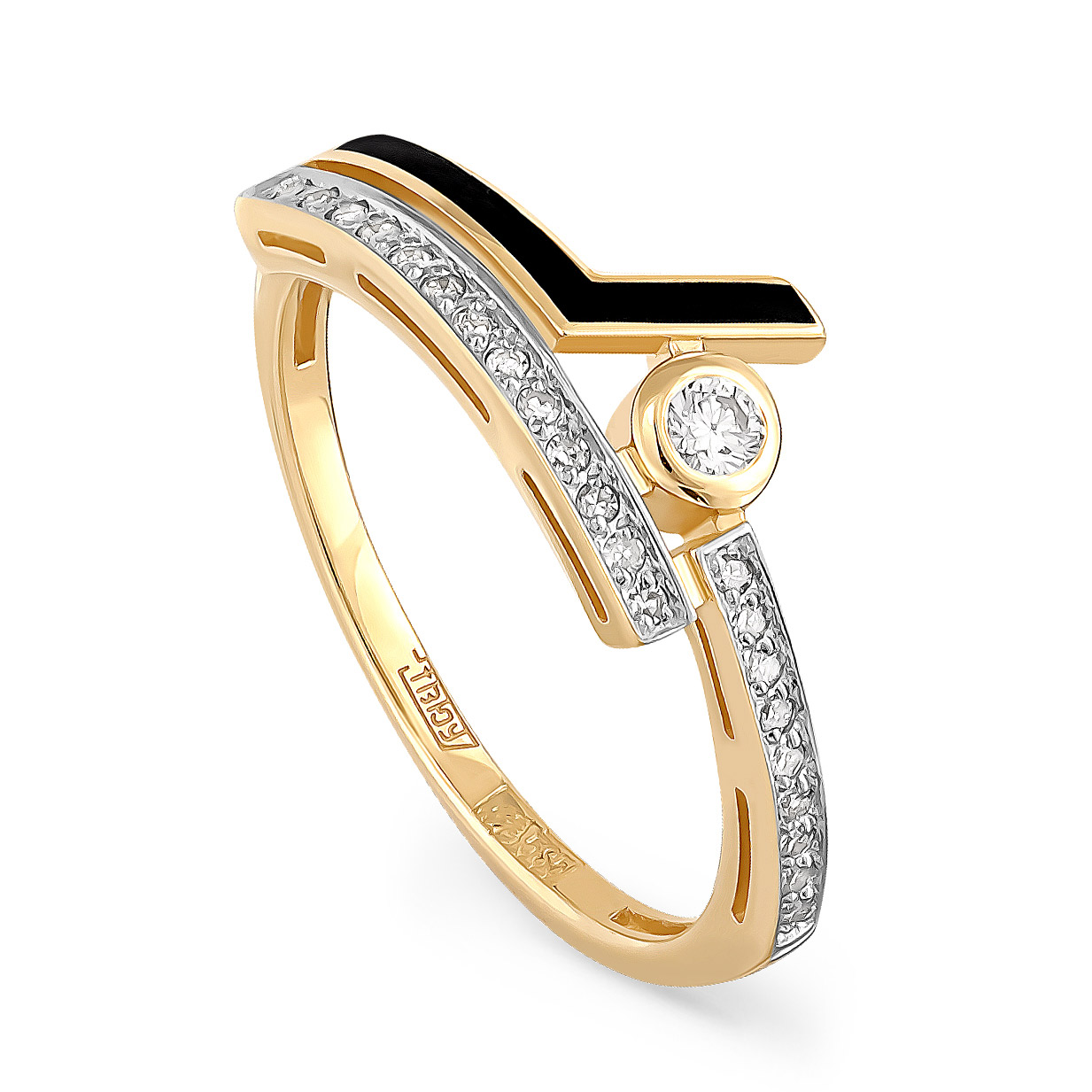 Кольцо из лимонного золота Бриллиант арт. 11-21050-1002 11-21050-1002