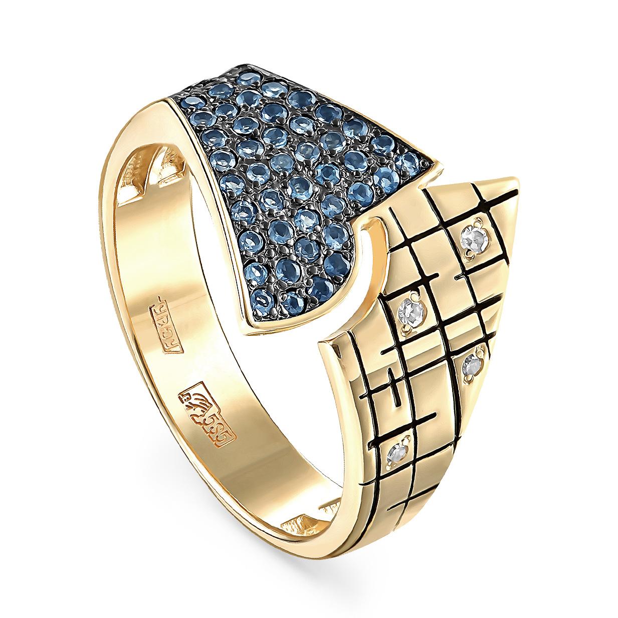 Кольцо из лимонного золота Бриллиант и Топаз арт. 11-21150-2302 11-21150-2302