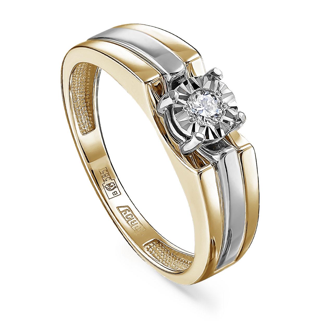 Кольцо из лимонного золота Бриллиант арт. 11-21245-1000 11-21245-1000