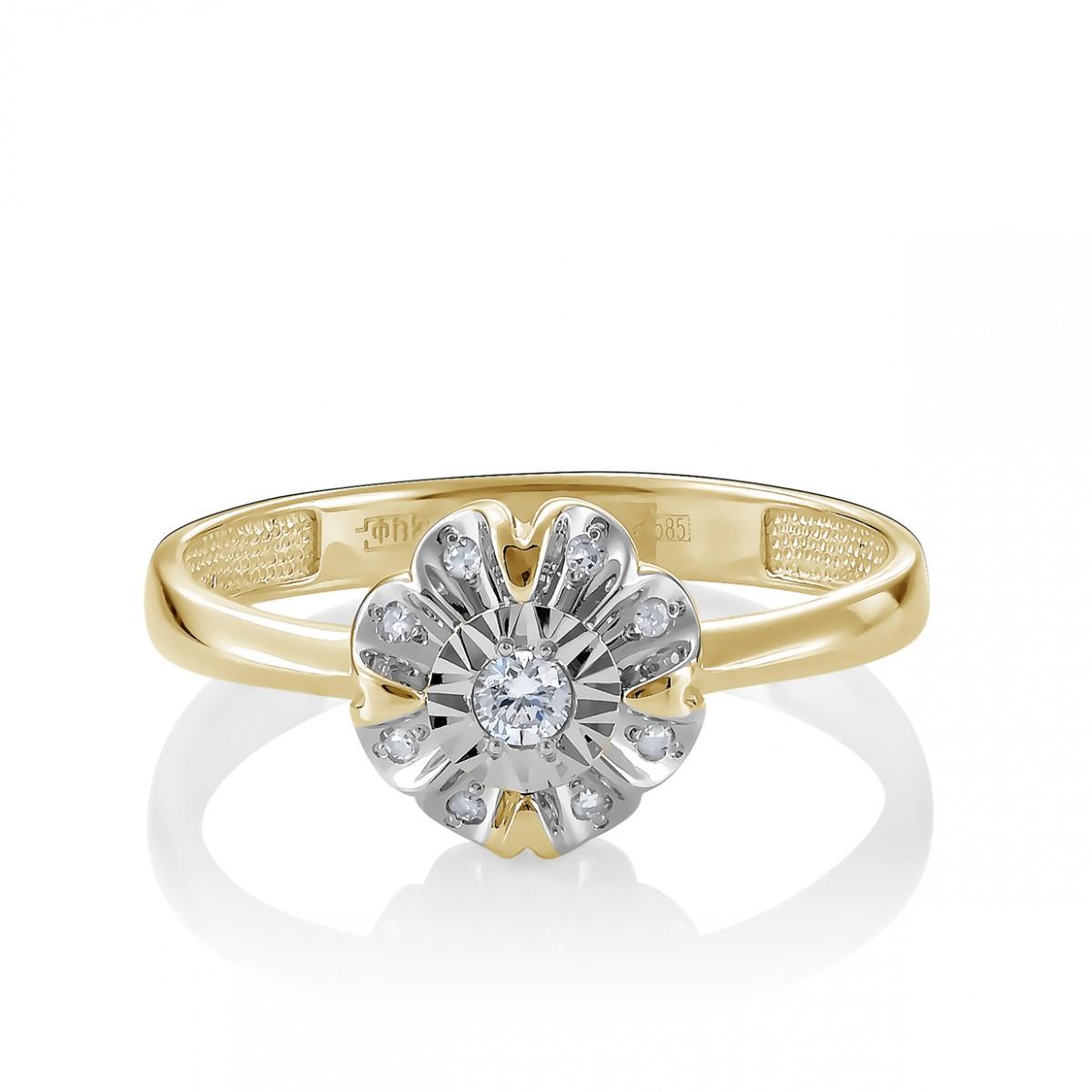 Кольцо из лимонного золота Бриллиант арт. 11-21280-1000 11-21280-1000