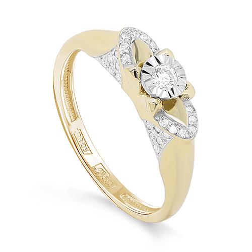 Кольцо из лимонного золота Бриллиант арт. 11-21343-1000 11-21343-1000