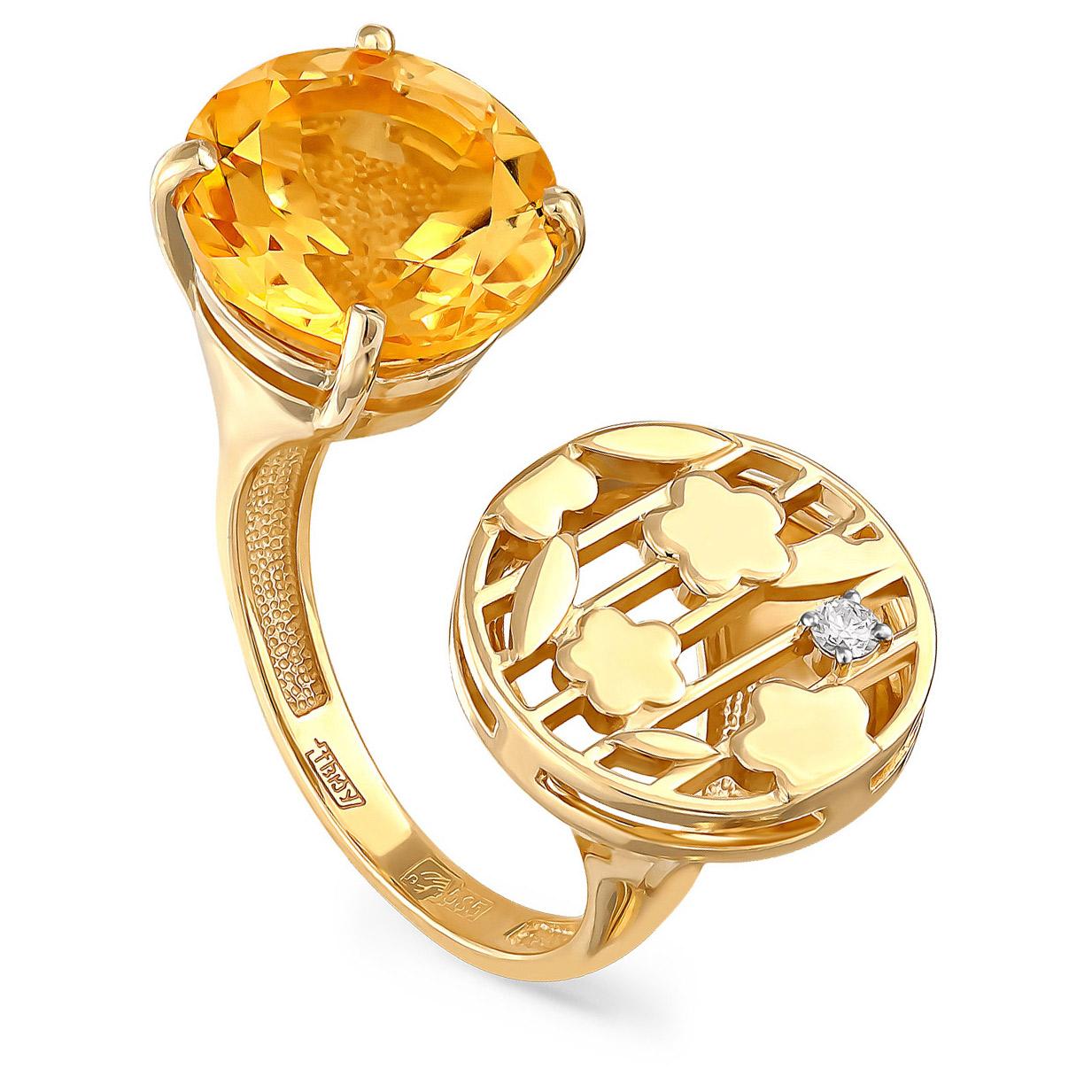 Кольцо из лимонного золота Бриллиант и Цитрин арт. 11-2988-2900 11-2988-2900