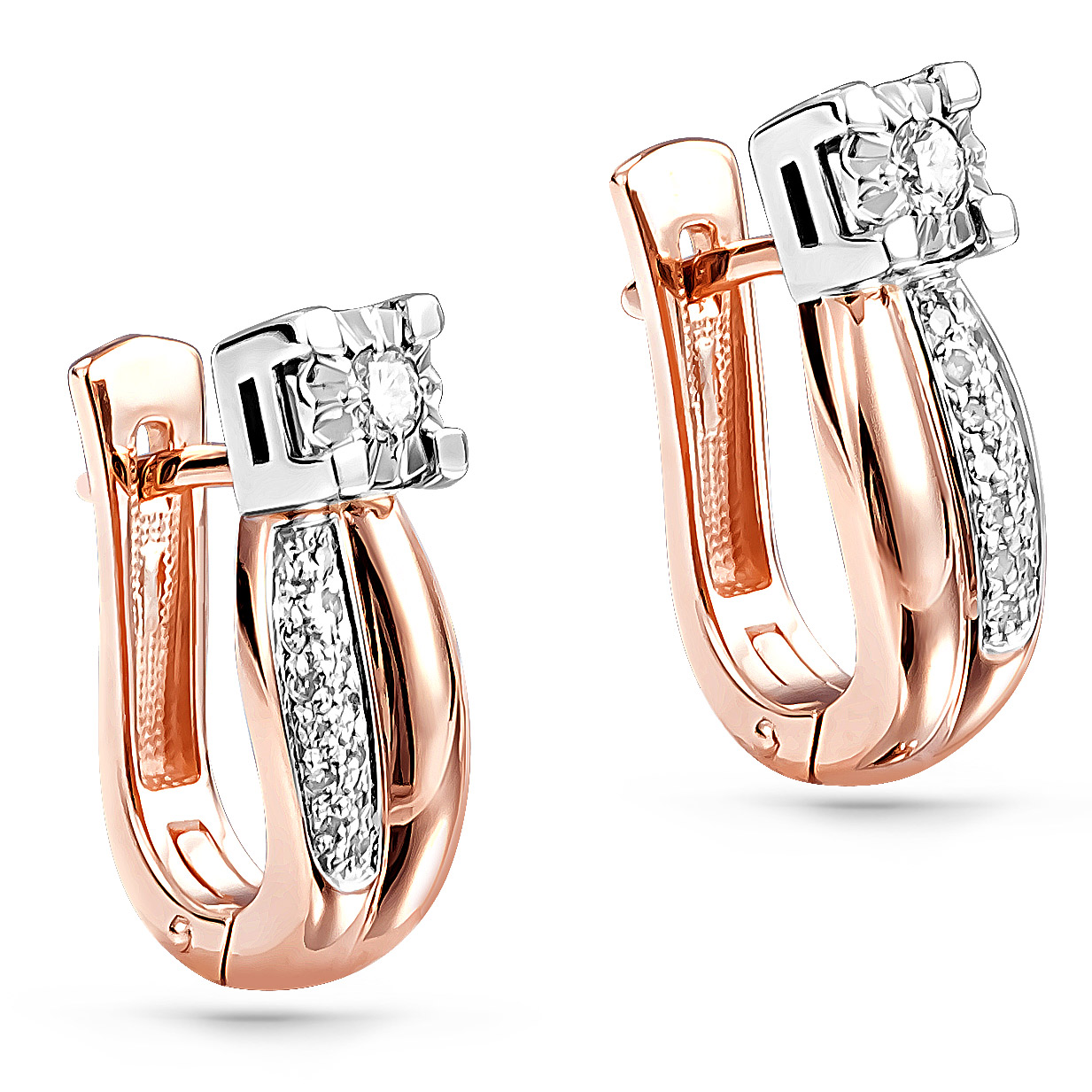 Золотые серьги с бриллиантом арт. 12-01085-1000 12-01085-1000