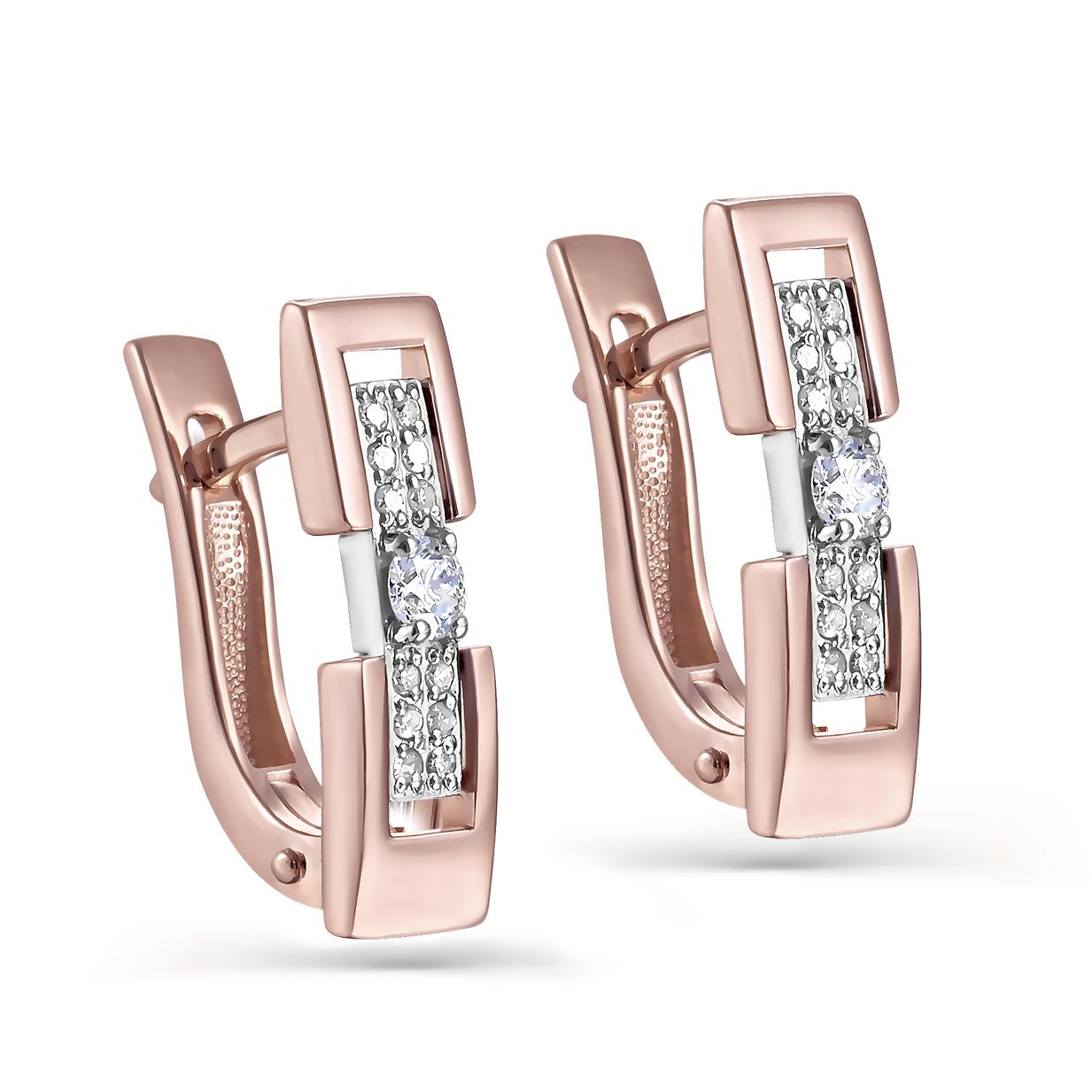 Золотые серьги с бриллиантом арт. 12-01294-1000 12-01294-1000