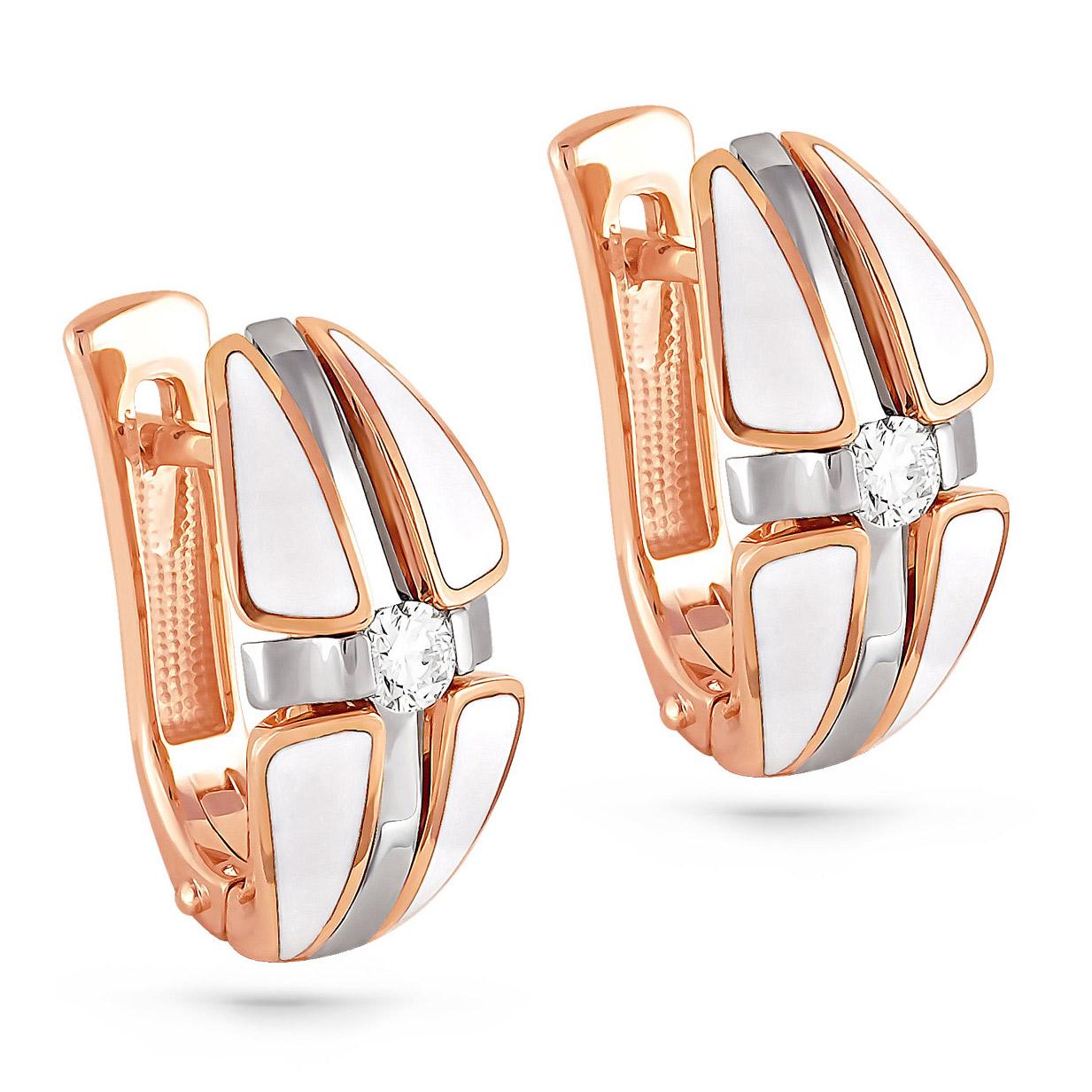 Золотые серьги с бриллиантом арт. 12-0249-1010 12-0249-1010