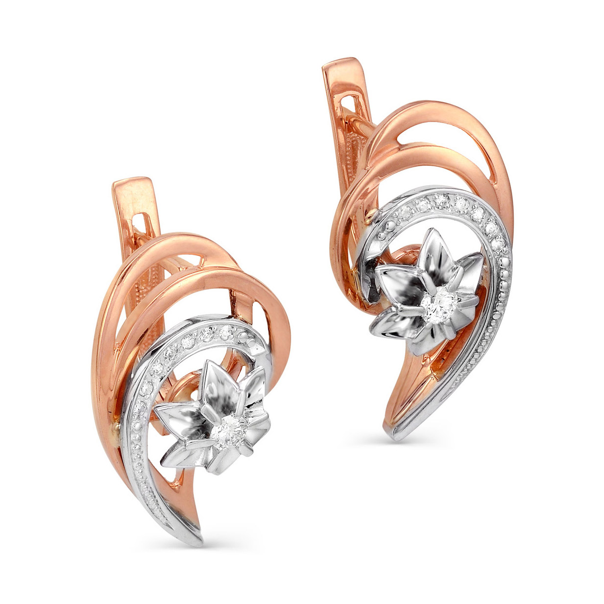 Золотые серьги с бриллиантом арт. 12-0337-1000 12-0337-1000