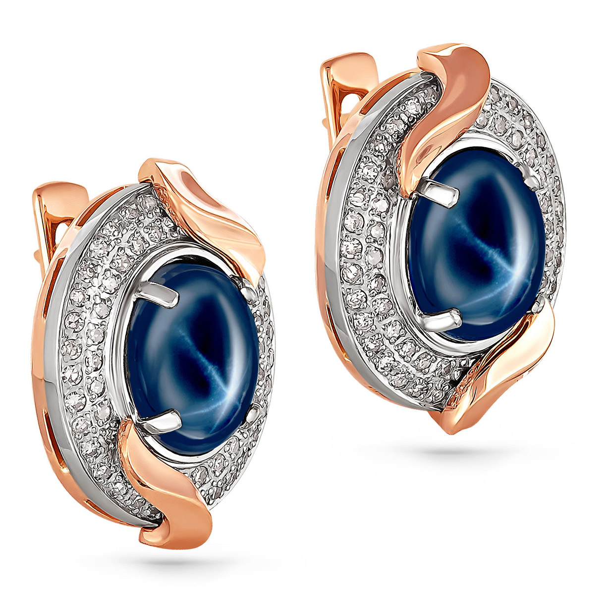 Золотые серьги с бриллиантом и звездчатым сапфиром арт. 12-0586-1400 12-0586-1400
