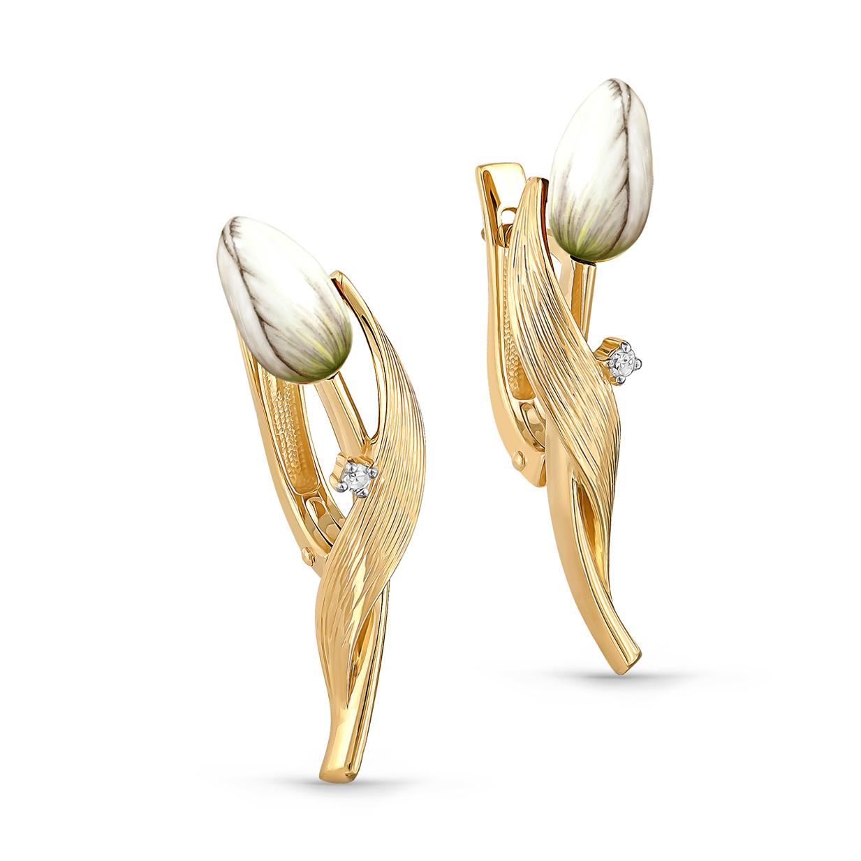 Серьги из лимонного золота с бриллиантом арт. 12-21003-1090 12-21003-1090