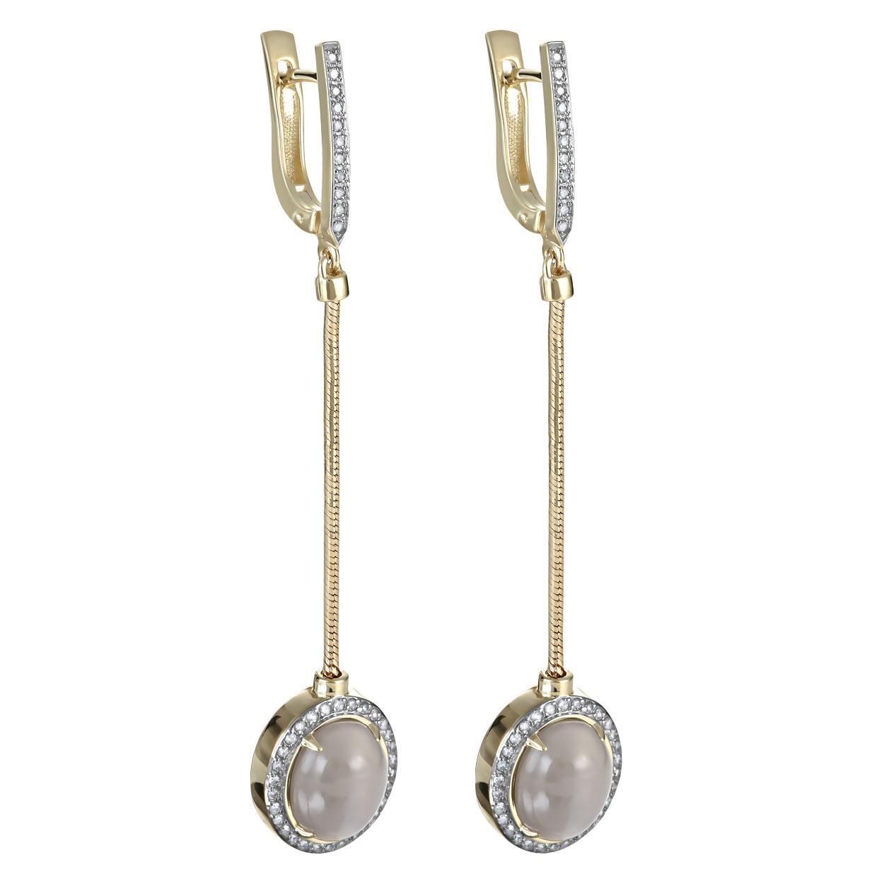 Серьги из лимонного золота с бриллиантом и лунным камнем арт. 12-21302-8700 12-21302-8700