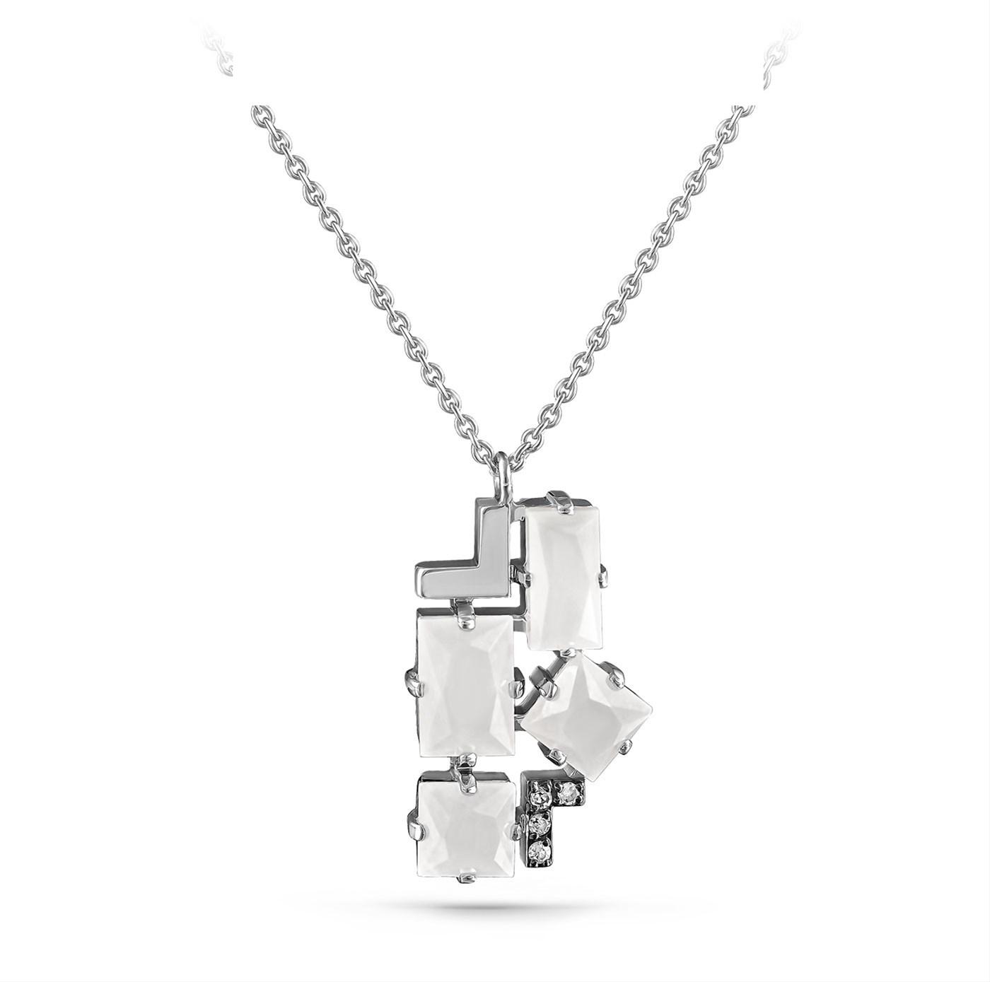 Колье из белого золота с бриллиантом и нефритом арт. 16-11112-5600 16-11112-5600