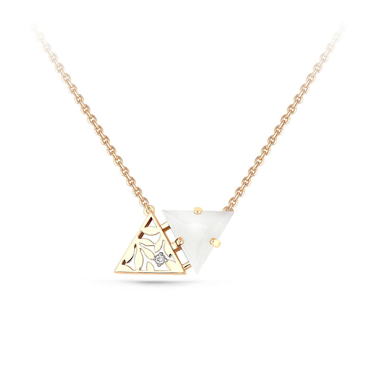 Колье из лимонного золота с бриллиантом и нефритом арт. 16-2996-1700 16-2996-1700