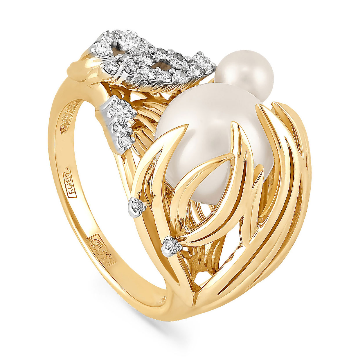 Кольцо из лимонного золота Бриллиант и Жемчуг арт. 21-2031-1500 21-2031-1500