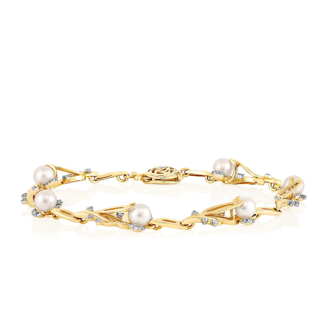 Браслет из лимонного золота с бриллиантом и жемчугом арт. 24-2031-1500 24-2031-1500