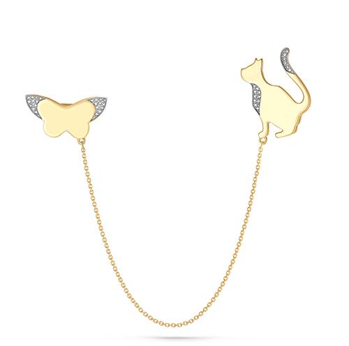 Брошь из лимонного золота с бриллиантом арт. 5-2046-1000 5-2046-1000