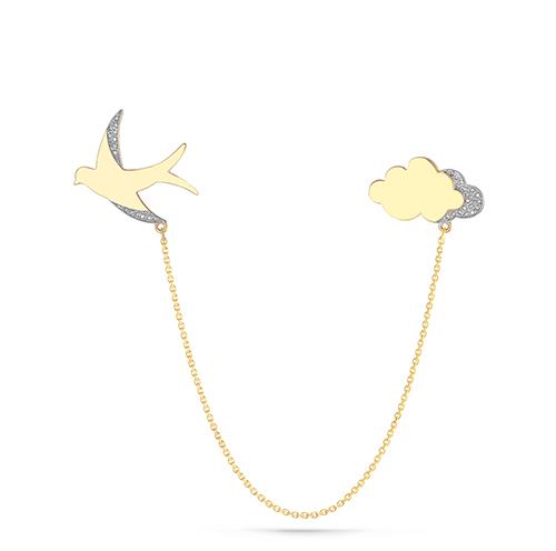 Брошь из лимонного золота с бриллиантом арт. 5-2047-1000 5-2047-1000