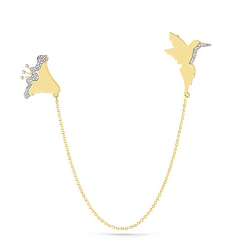 Брошь из лимонного золота с бриллиантом арт. 5-2049-1000 5-2049-1000