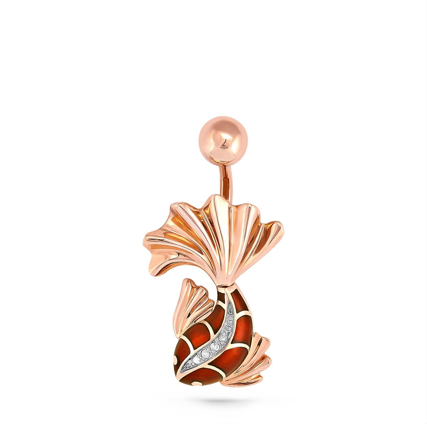 Золотой пирсинг с бриллиантом арт. 9-0005-1014 9-0005-1014