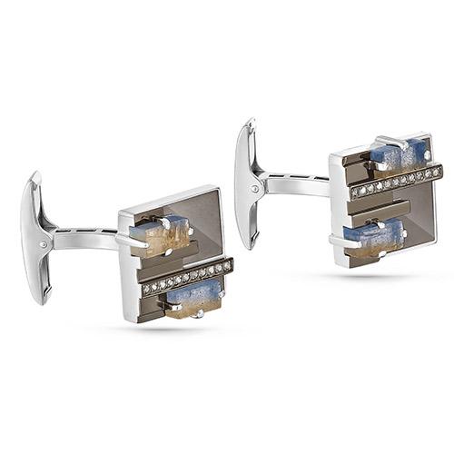 Серебряные запонки с бриллиантом и лабрадоритом арт. 17-161-6519 17-161-6519