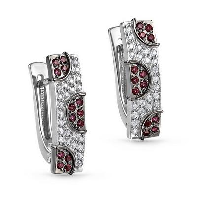 Серебряные серьги с кристаллом сваровски и фианитом арт. 12-191-30389 12-191-30389