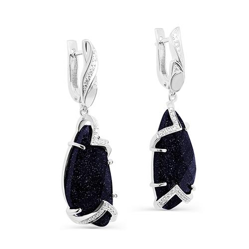 Серебряные серьги с авантюрином и фианитом арт. 12-236-1300 12-236-1300