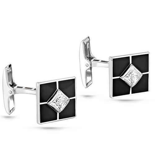 Серебряные запонки с кристаллом сваровски арт. 17-140-8102 17-140-8102