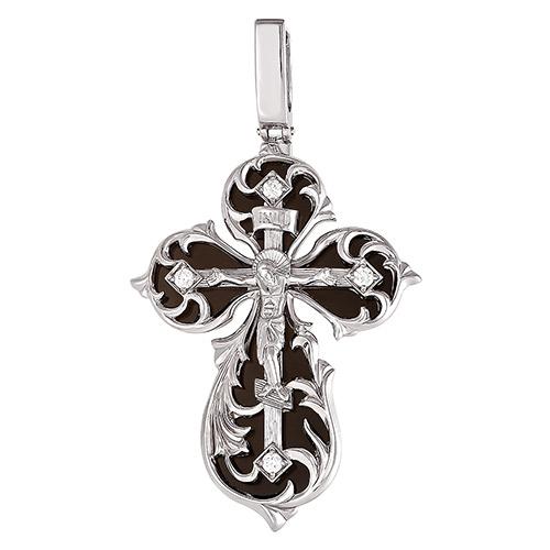 Серебряный крест с кристаллом сваровски арт. 3-078 3-078
