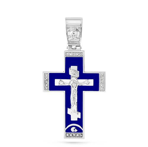 Серебряный крест с кристаллом сваровски арт. 3-126-7907 3-126-7907