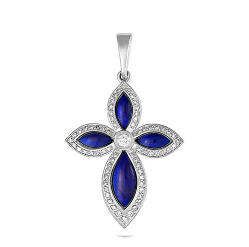 Серебряный крест с кристаллом сваровски арт. 3-131-8107 3-131-8107