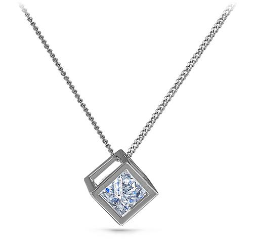 Серебряное колье с кристаллом сваровски арт. 6-009-8100 6-009-8100