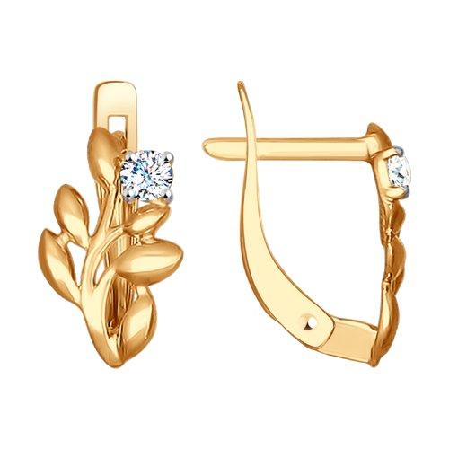 Золотые серьги с фианитом 027255