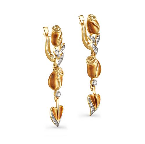 Серьги из лимонного золота с бриллиантом арт. 12-2740-1000 12-2740-1000
