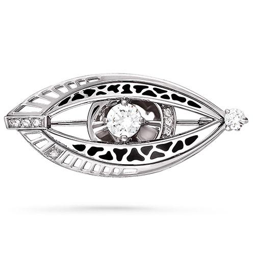 Серебряная брошь с кристаллом сваровски арт. 5-003-8102 5-003-8102