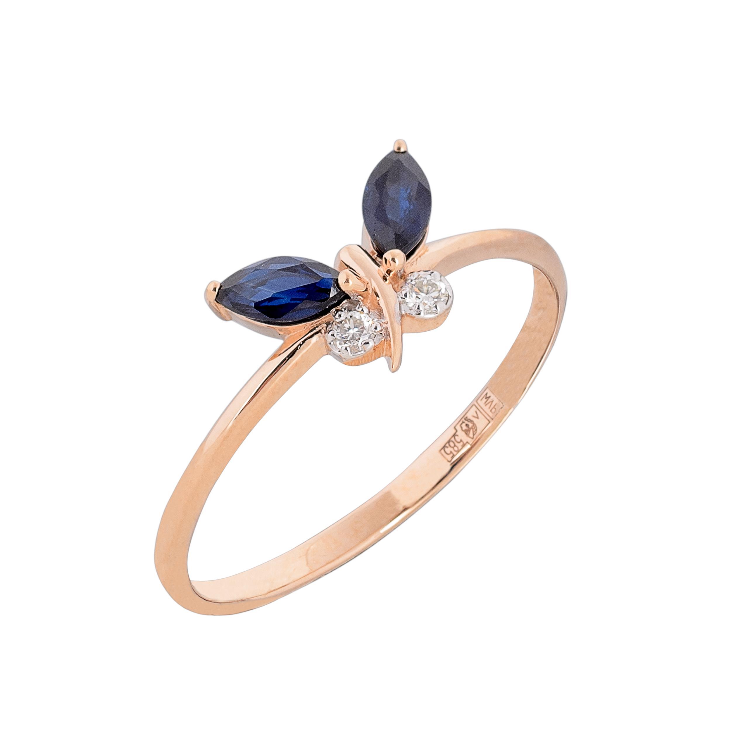 Золотое кольцо Бриллиант и Сапфир арт. 911027с 911027с