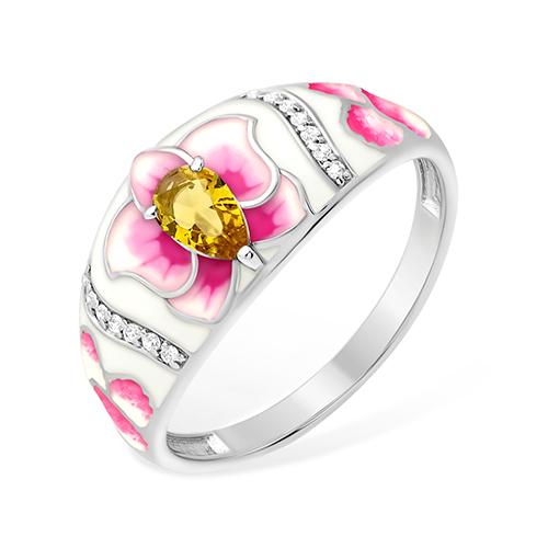 Серебряное кольцо Фианит и Цитрин арт. 1015411658-1 1015411658-1
