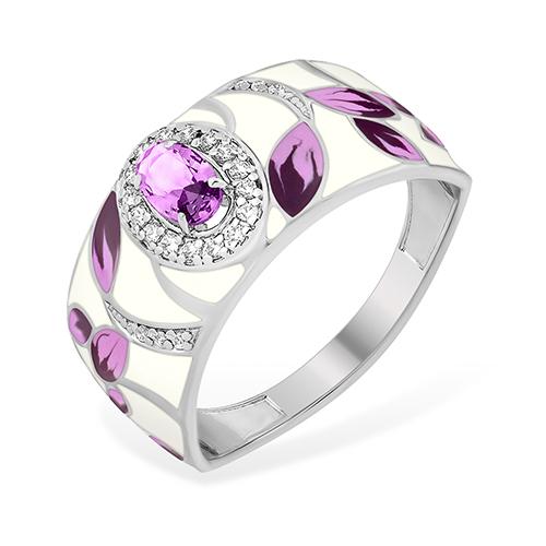 Серебряное кольцо Аметист и Фианит арт. 1015414092-501 1015414092-501