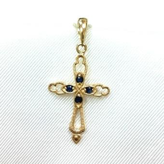 Золотой крест с сапфиром арт. 350012кс 350012кс