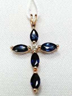 Золотой крест с бриллиантом и сапфиром арт. 810041/6кс 810041/6кс
