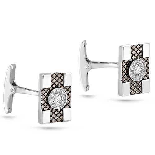 Серебряные запонки с кристаллом сваровски арт. 17-135-8189 17-135-8189
