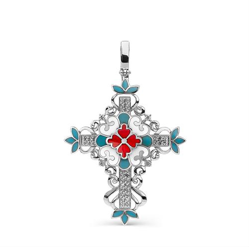 Серебряный крест с кристаллом сваровски арт. 3-188-8101 3-188-8101