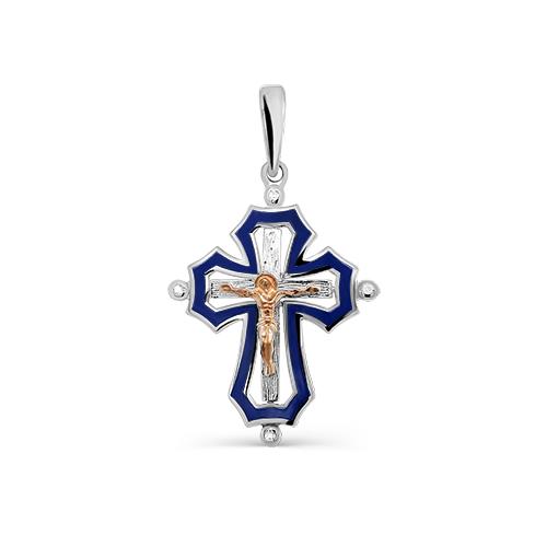 Серебряный крест с бриллиантом арт. 3-227-1007 3-227-1007