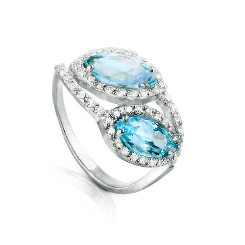 Серебряное кольцо Топаз и Фианит арт. я41300423 я41300423
