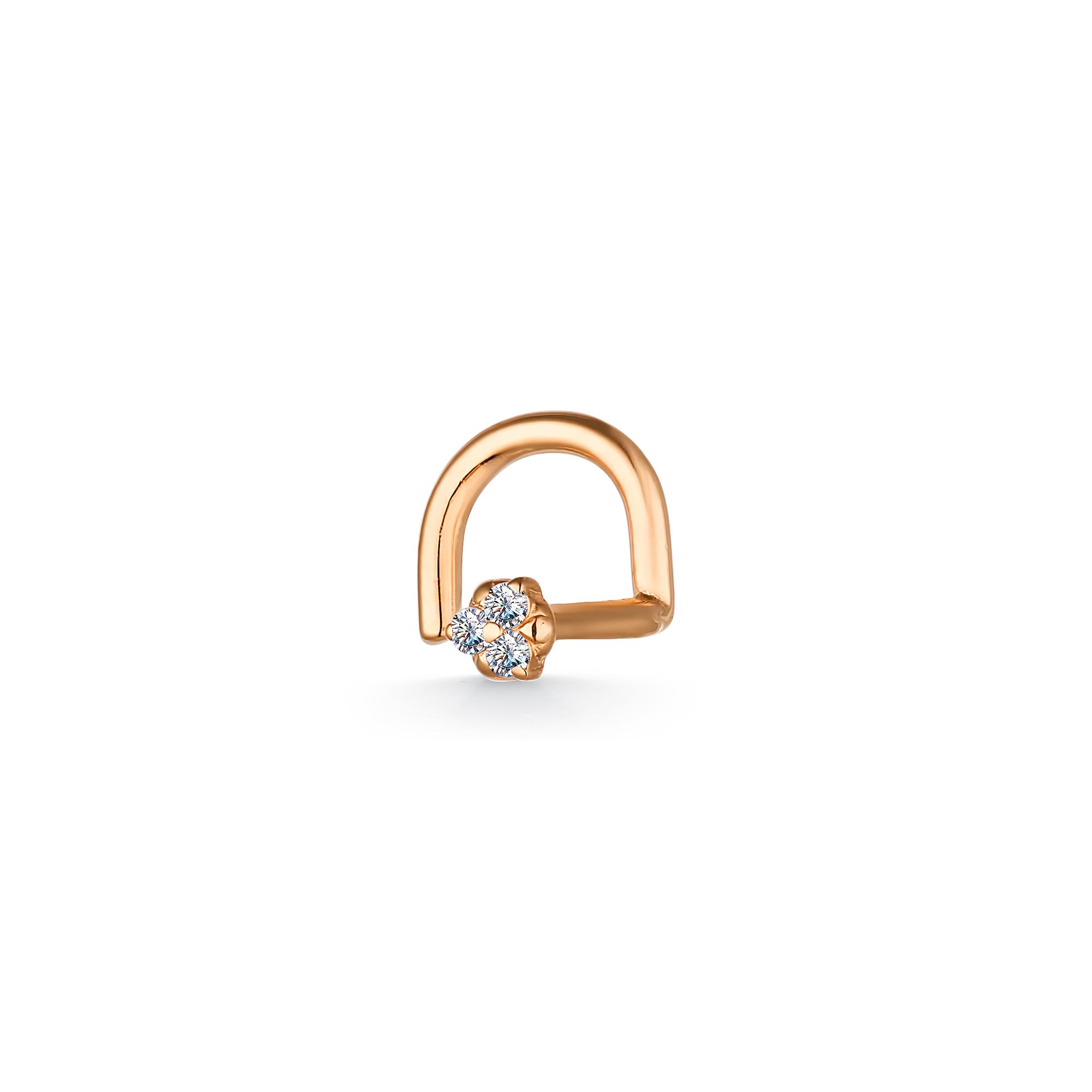 Пирсинг в нос из золота с бриллиантом арт. 7018-100 7018-100