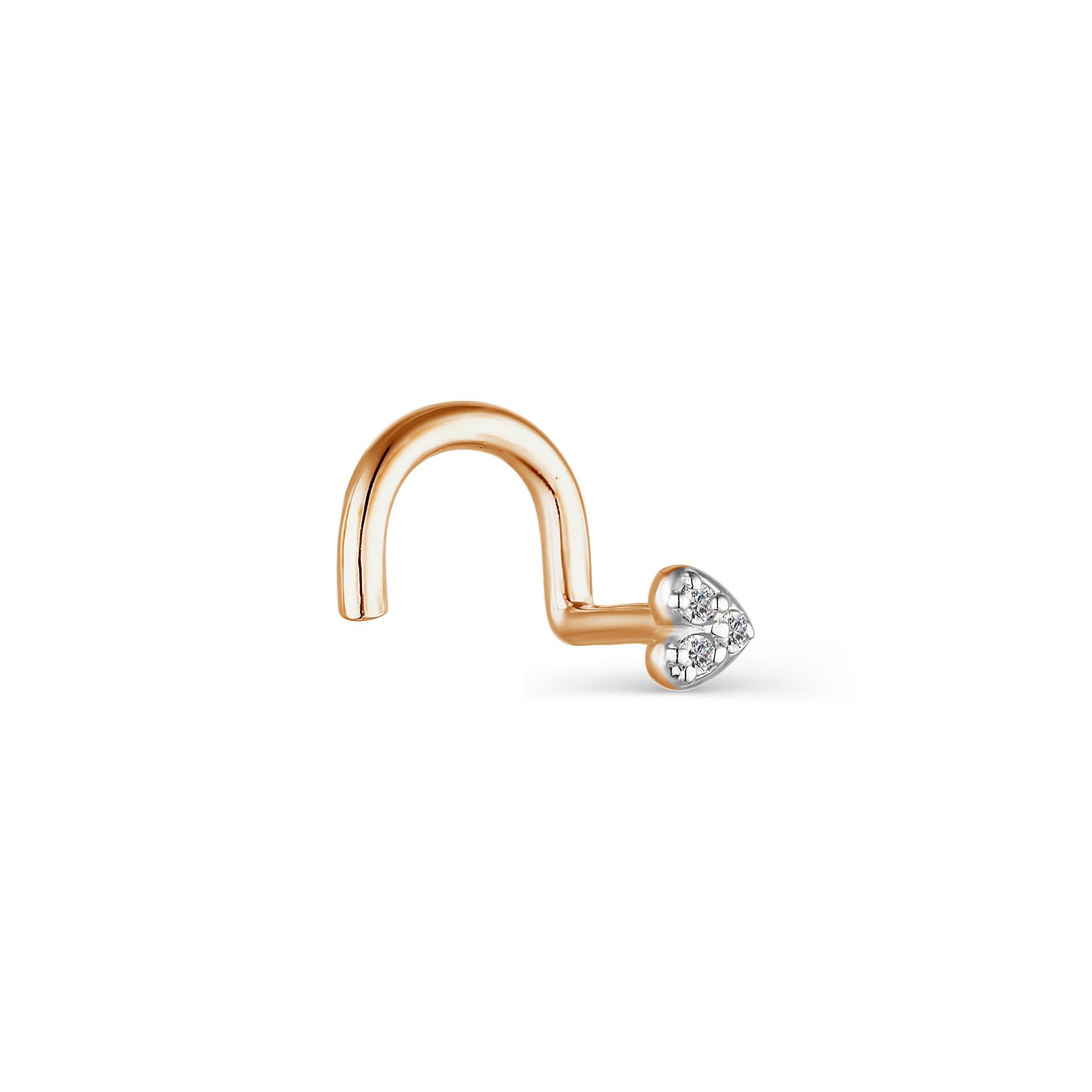 Пирсинг в нос из белого золота с бриллиантом арт. 73756-200 73756-200